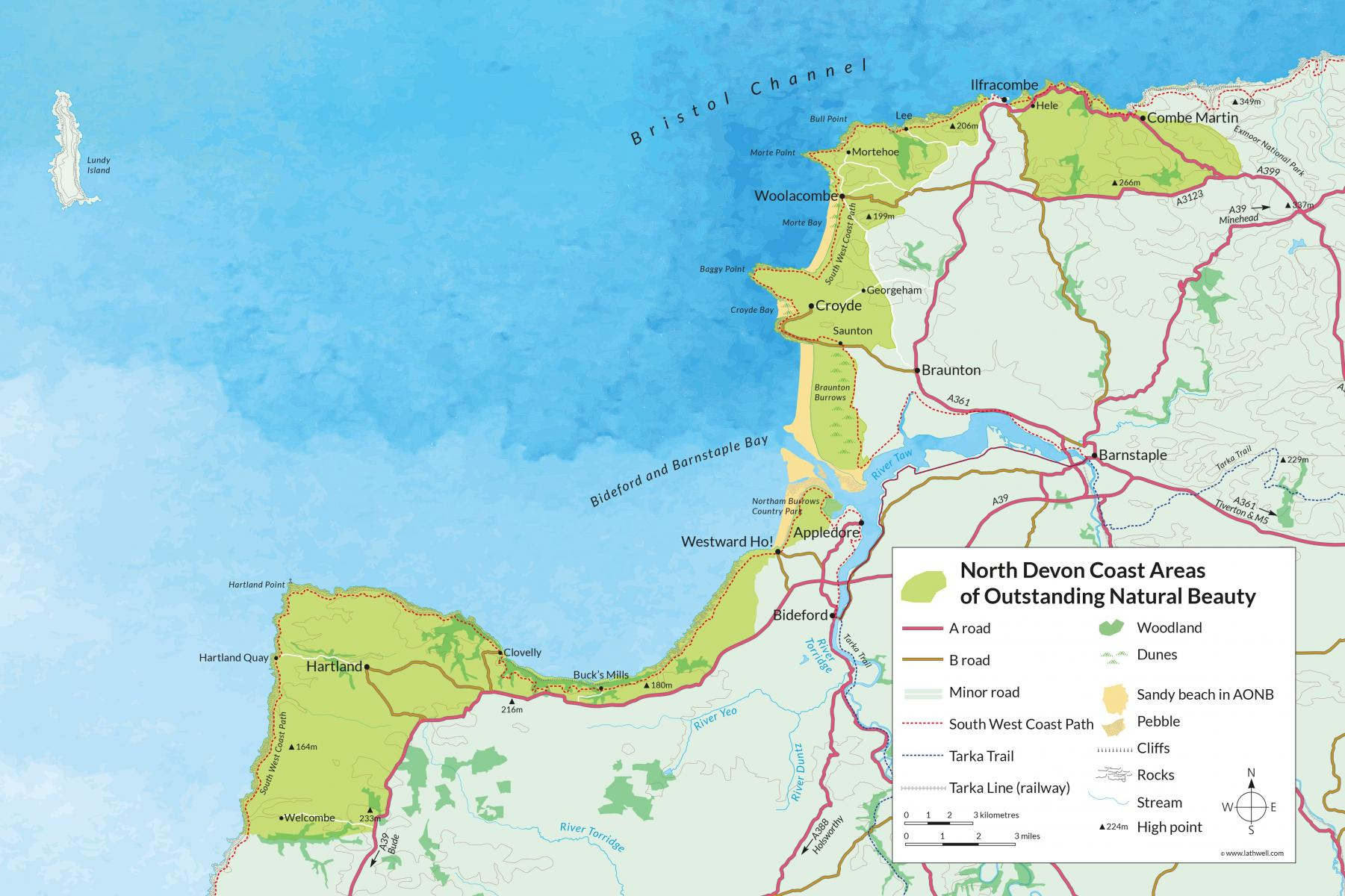 North Devon Coast AONB Map