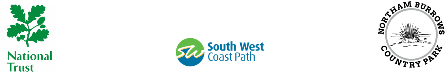National trust South West coast path and Northam Burrows logos
